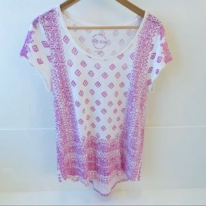 Lucky Brand white and pink gauze shirt M